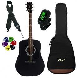 Akustiskās ģitāras komplekts Cort AD810 BKS-SET