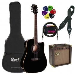 Akustiskās ģitāras komplekts Cort AD880CE-BK-Set
