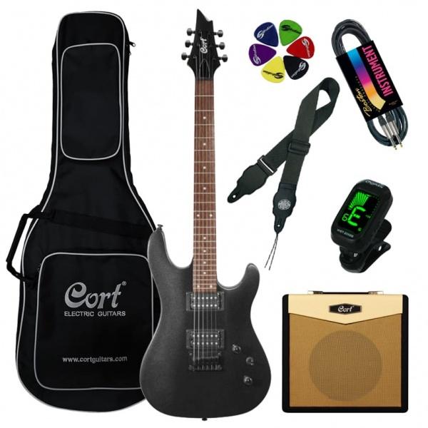 Elektriskās ģitāras komplekts Cort KX100-BKM-Set