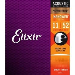 Elixir Acoustic Guitar Strings Nanoweb 16027 (11-52)