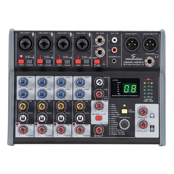8-Channel Professional Mixer Miomix-404-FX